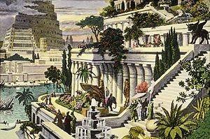 یک نقاشی از باغهای معلق بابل (و آسمان خراش بابل در دورنمای تصویر) که در قرن شانزدهم میلادی به تصویر کشیده شدهاست.